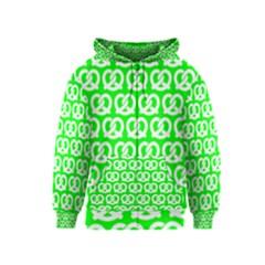 Neon Green Pretzel Illustrations Pattern Kids Zipper Hoodies