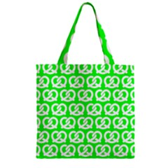 Neon Green Pretzel Illustrations Pattern Zipper Grocery Tote Bags