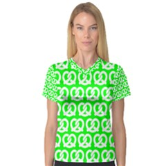 Neon Green Pretzel Illustrations Pattern Women s V-Neck Sport Mesh Tee