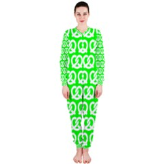 Neon Green Pretzel Illustrations Pattern OnePiece Jumpsuit (Ladies)