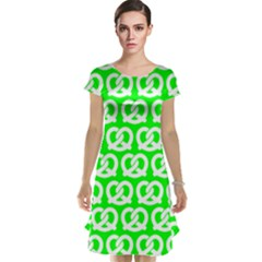 Neon Green Pretzel Illustrations Pattern Cap Sleeve Nightdresses
