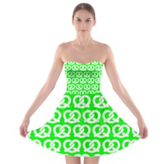 Neon Green Pretzel Illustrations Pattern Strapless Bra Top Dress