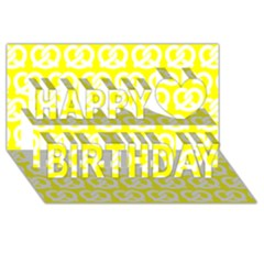 Yellow Pretzel Illustrations Pattern Happy Birthday 3D Greeting Card (8x4)