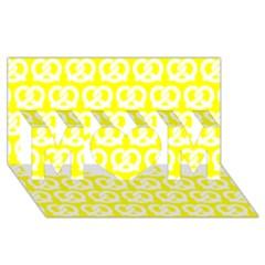 Yellow Pretzel Illustrations Pattern MOM 3D Greeting Card (8x4)