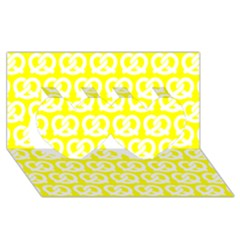 Yellow Pretzel Illustrations Pattern Twin Hearts 3D Greeting Card (8x4)