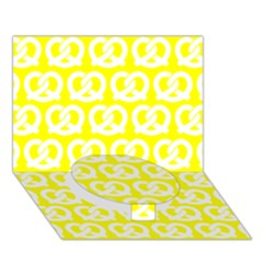 Yellow Pretzel Illustrations Pattern Circle Bottom 3D Greeting Card (7x5)