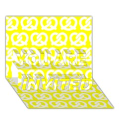 Yellow Pretzel Illustrations Pattern You Are Invited 3d Greeting Card (7x5)