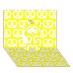 Yellow Pretzel Illustrations Pattern Ribbon 3d Greeting Card (7x5)