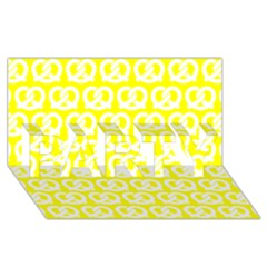Yellow Pretzel Illustrations Pattern PARTY 3D Greeting Card (8x4)