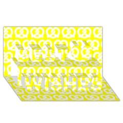 Yellow Pretzel Illustrations Pattern Best Wish 3D Greeting Card (8x4)