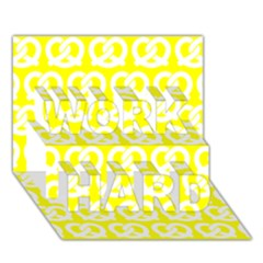Yellow Pretzel Illustrations Pattern WORK HARD 3D Greeting Card (7x5)