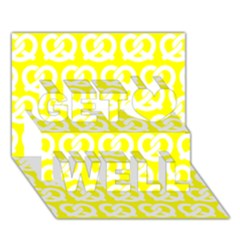 Yellow Pretzel Illustrations Pattern Get Well 3D Greeting Card (7x5)