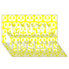 Yellow Pretzel Illustrations Pattern Laugh Live Love 3D Greeting Card (8x4)