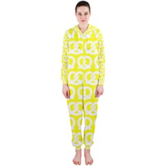 Yellow Pretzel Illustrations Pattern Hooded Jumpsuit (Ladies)