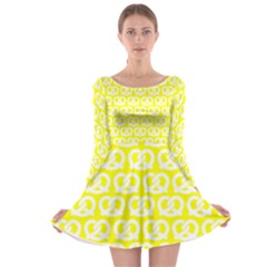 Yellow Pretzel Illustrations Pattern Long Sleeve Skater Dress