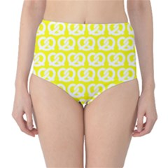 Yellow Pretzel Illustrations Pattern High-Waist Bikini Bottoms