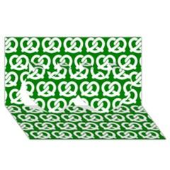 Green Pretzel Illustrations Pattern Twin Hearts 3D Greeting Card (8x4)