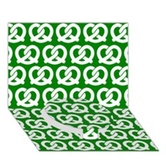 Green Pretzel Illustrations Pattern Circle Bottom 3D Greeting Card (7x5)