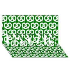 Green Pretzel Illustrations Pattern Best Sis 3d Greeting Card (8x4)
