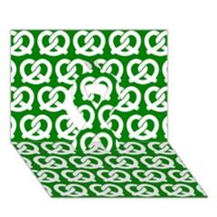 Green Pretzel Illustrations Pattern Ribbon 3d Greeting Card (7x5)