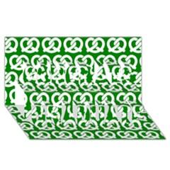 Green Pretzel Illustrations Pattern Congrats Graduate 3D Greeting Card (8x4)