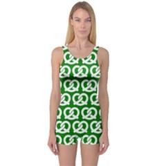 Green Pretzel Illustrations Pattern Women s Boyleg One Piece Swimsuits