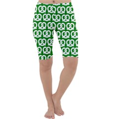 Green Pretzel Illustrations Pattern Cropped Leggings