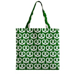Green Pretzel Illustrations Pattern Zipper Grocery Tote Bags