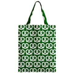 Green Pretzel Illustrations Pattern Zipper Classic Tote Bags