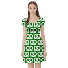 Green Pretzel Illustrations Pattern Short Sleeve Skater Dresses