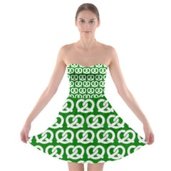 Green Pretzel Illustrations Pattern Strapless Bra Top Dress