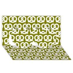 Olive Pretzel Illustrations Pattern Twin Hearts 3d Greeting Card (8x4)