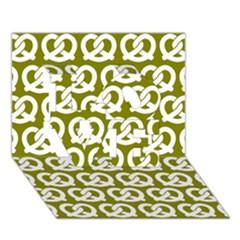 Olive Pretzel Illustrations Pattern Love 3d Greeting Card (7x5)