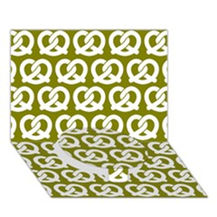 Olive Pretzel Illustrations Pattern Circle Bottom 3D Greeting Card (7x5)