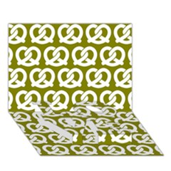 Olive Pretzel Illustrations Pattern LOVE Bottom 3D Greeting Card (7x5)