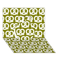 Olive Pretzel Illustrations Pattern Apple 3D Greeting Card (7x5)