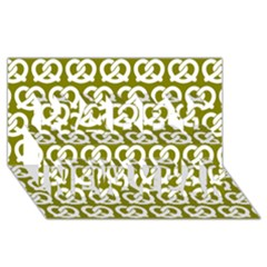 Olive Pretzel Illustrations Pattern Happy New Year 3d Greeting Card (8x4)