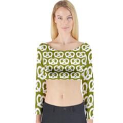 Olive Pretzel Illustrations Pattern Long Sleeve Crop Top