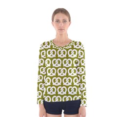 Olive Pretzel Illustrations Pattern Women s Long Sleeve T Shirts