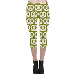 Olive Pretzel Illustrations Pattern Capri Leggings