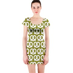 Olive Pretzel Illustrations Pattern Short Sleeve Bodycon Dresses