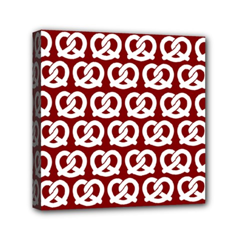 Red Pretzel Illustrations Pattern Mini Canvas 6  x 6