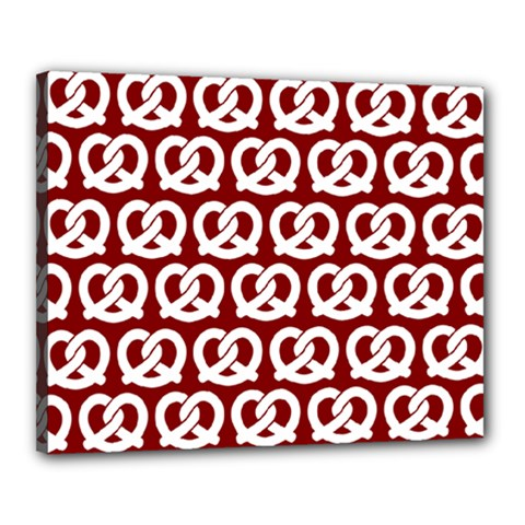 Red Pretzel Illustrations Pattern Canvas 20  x 16