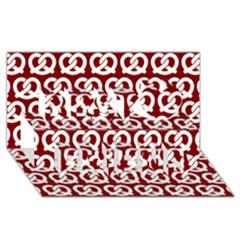 Red Pretzel Illustrations Pattern Best Friends 3D Greeting Card (8x4)