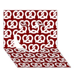 Red Pretzel Illustrations Pattern Heart 3d Greeting Card (7x5)
