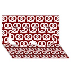 Red Pretzel Illustrations Pattern Twin Hearts 3d Greeting Card (8x4)