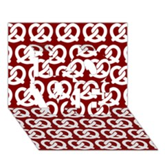 Red Pretzel Illustrations Pattern LOVE 3D Greeting Card (7x5)