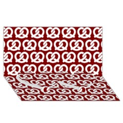 Red Pretzel Illustrations Pattern Twin Heart Bottom 3d Greeting Card (8x4)
