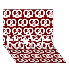 Red Pretzel Illustrations Pattern Hope 3d Greeting Card (7x5)