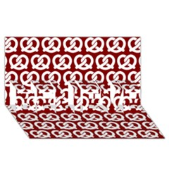 Red Pretzel Illustrations Pattern BELIEVE 3D Greeting Card (8x4)